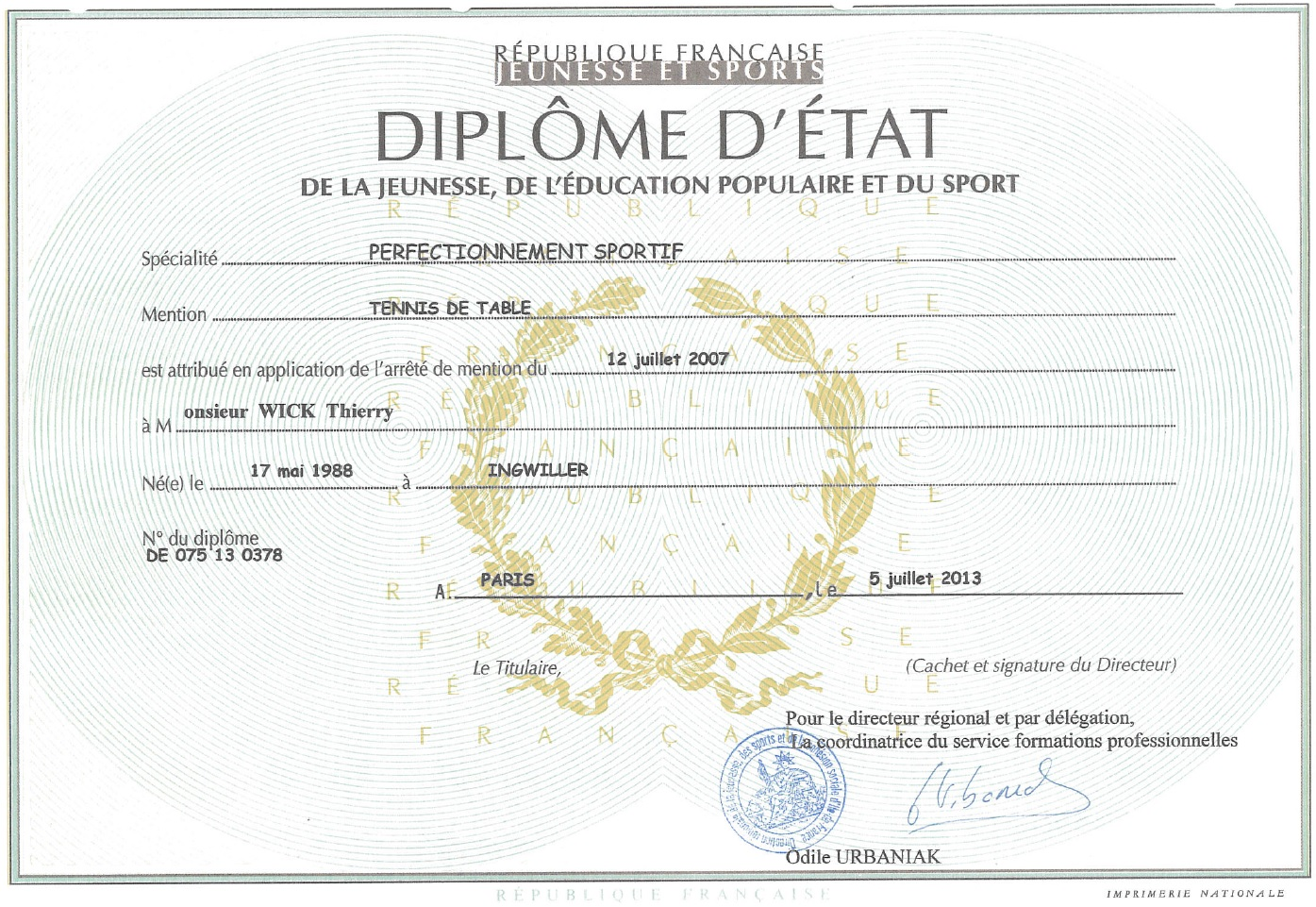 Diplome Thierry Wick